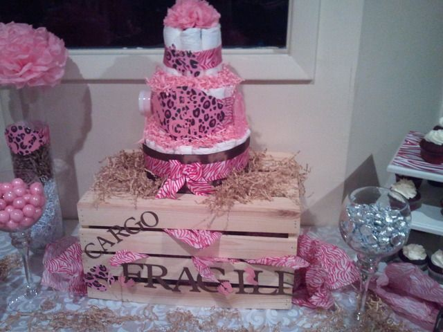 cake at a pink safari baby shower pinksafari babyshower baby