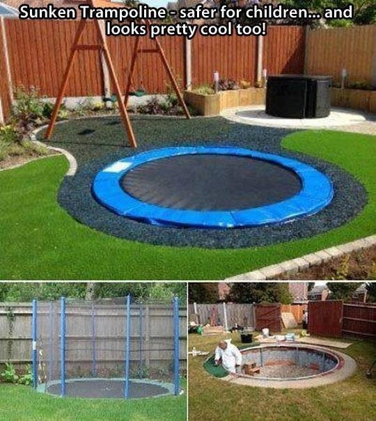 In ground trampoline outdoors pinterest for How to put a trampoline in the ground