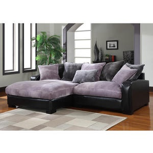 Purple and gray plush chaise sectional interior design for Plush sectional sofa with chaise