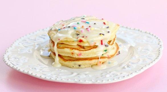 Cake Batter Pancakes. OMG... my kids (and my husband [okay, me too ...