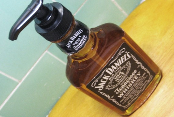 Used Jack Daniels bottle as a soap dispenser- cute for the wet bar! (or mancave)