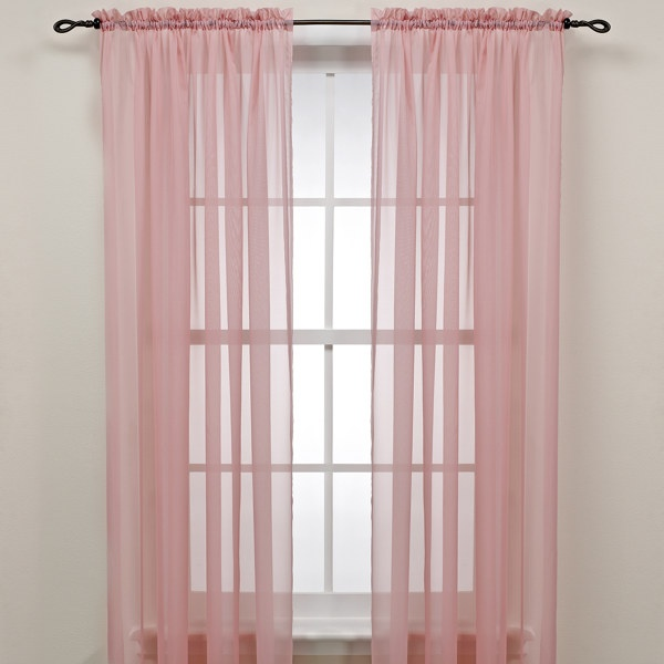 "Pink 84"" Rod Pocket Sheer Window Curtain Panel - Bed Bath & Beyond"