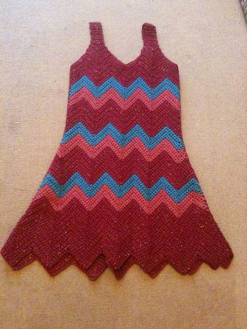 Crocheting Zig Zag Pattern : Zig zag crochet dress by arliaflower, Crochet Pinterest