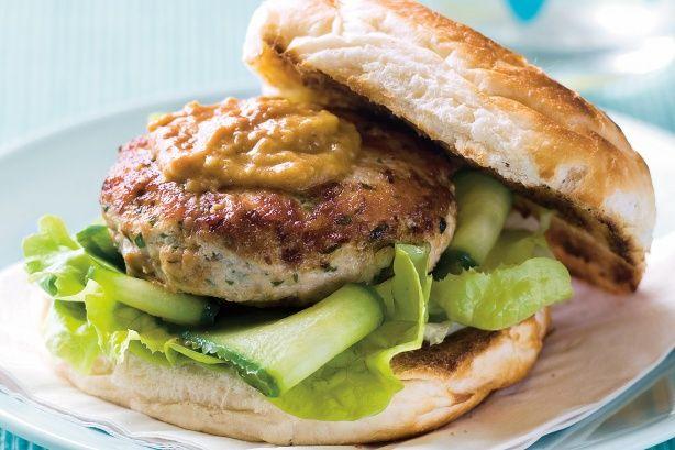 Satay chicken burgers | Main Course - Chicken | Pinterest