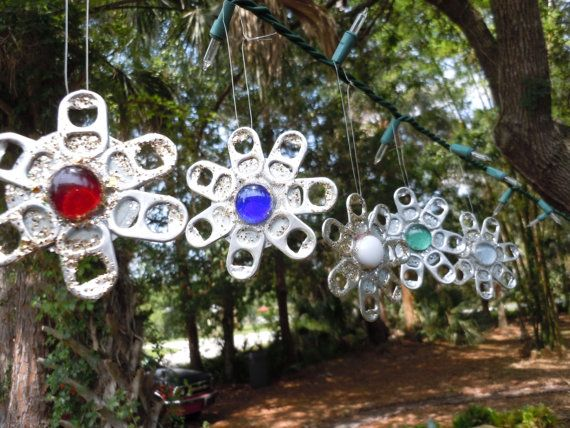 Christmas ornaments recycled can tab snowflake ornaments for Where can i get christmas decorations