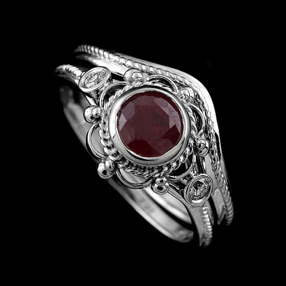 Victorian Style Diamond Round Ruby Engagement Ring and Curved Wedding…