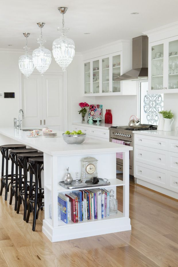 kitchen island with built in shelves home style