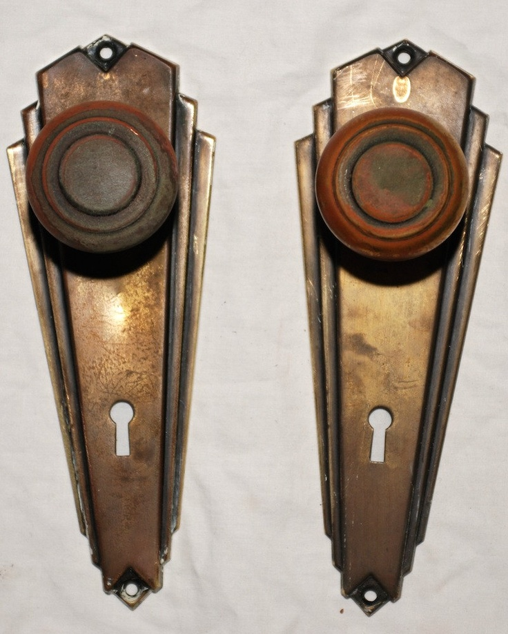Art Deco Door Knob Face Plate Set Cool Knobs And