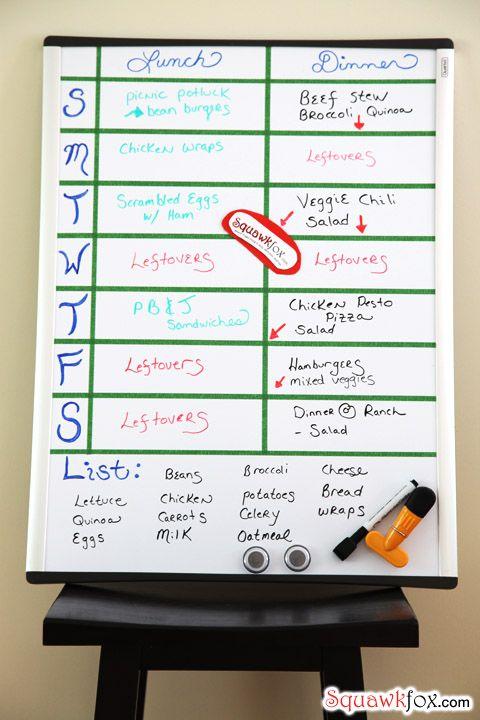 menu planning | A Better Life | Pinterest