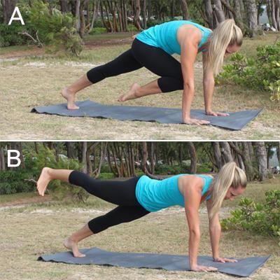 10  Crunch-free moves for Killer abs Shape magazine.Back Kick Plank