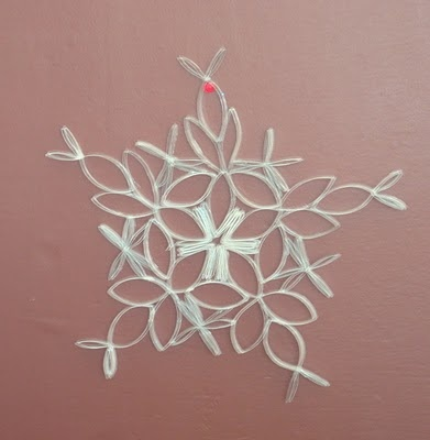 Snowflake made from toilet paper rolls christmas pinterest for Snowflake out of toilet paper rolls