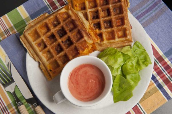 BEER BATTER HAM-AND-CHEESE WAFFLES | Meatless entrees | Pinterest