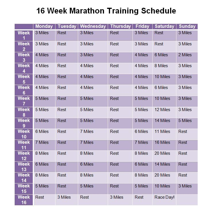 Full Marathon Training Schedule | New Calendar Template Site