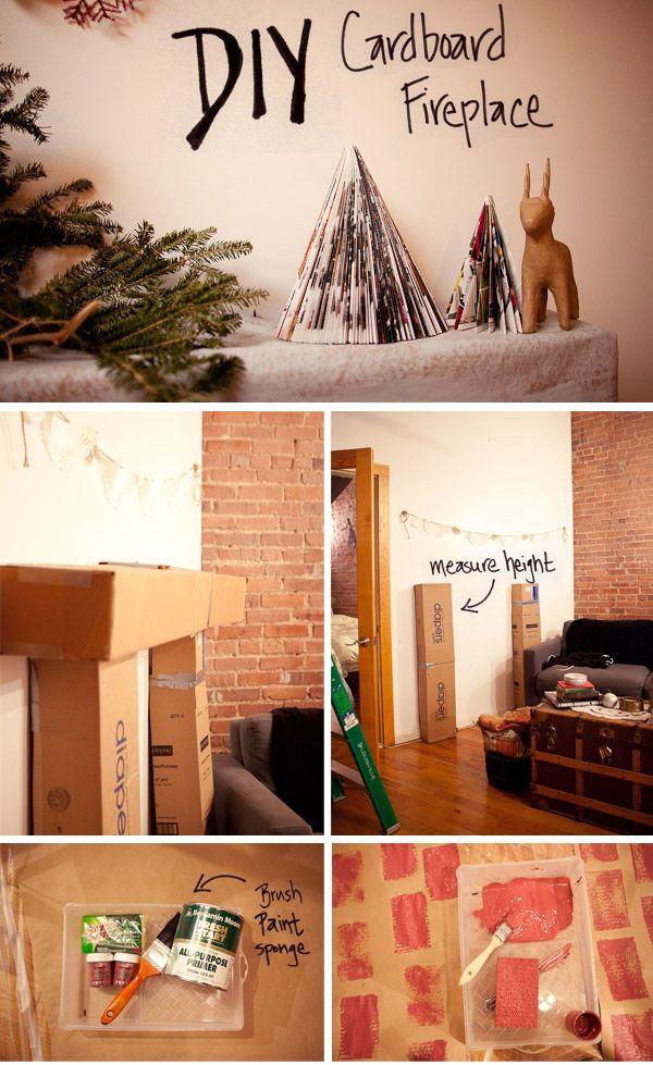 diy cardboard fireplace cardboard