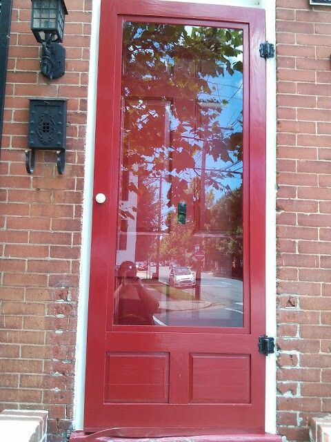 Red front door with red storm door doors pinterest for Front entry doors with storm door