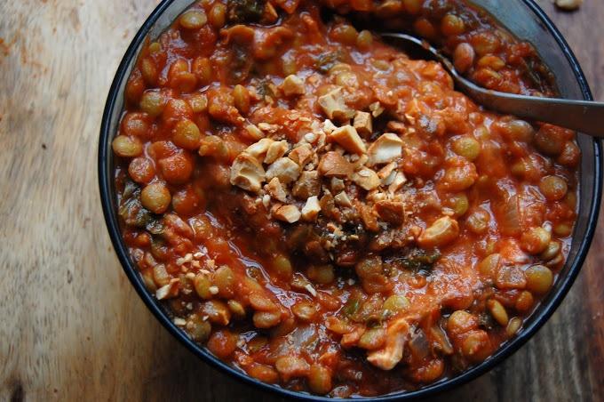 Tomato Lentil Soup with Kale & Cashews | Soups | Pinterest