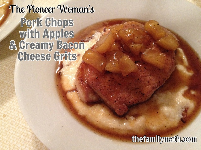 Pork Chops With Apples And Creamy Bacon Cheese Grits ...