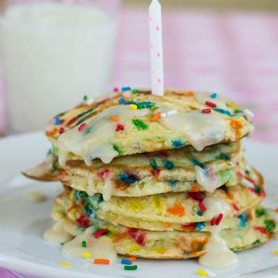 Cake Batter Pancakes. So doing this for my soon to be 4yr old birthday ...