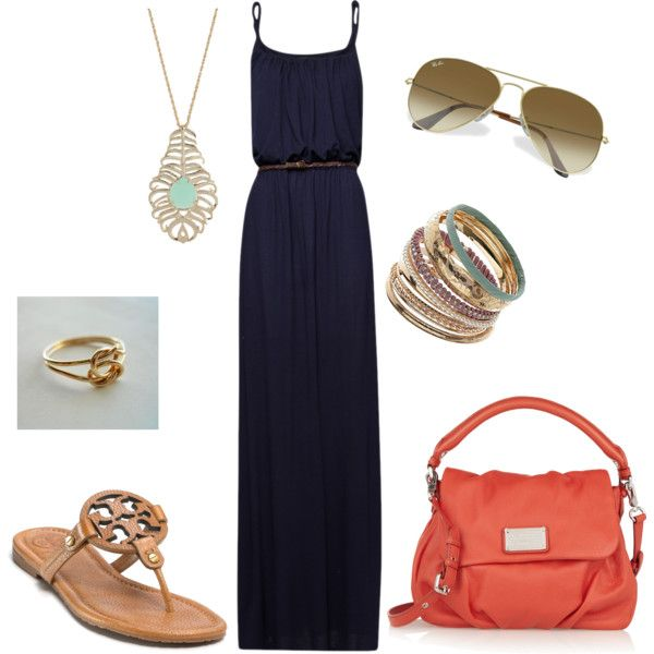 """""""Maxi dress"""" by dyanna85 on Polyvore. Love all except the TB sandals - vowed to never buy her shoes again because they are SO uncomfortable!!!"""