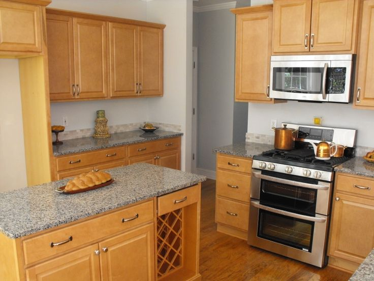 Kitchen maple granite countertops Needs dark grey tile floors and