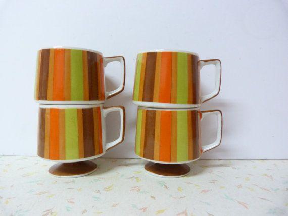 Vintage Mid Century Modern Coffee Mugs Stacking Striped
