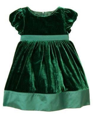 Nwt gymboree holiday celebrations green velvet christmas dress size 2t