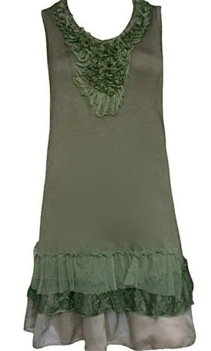 Pretty Angel Clothing Antique Shirt Dress in Green *62327GN