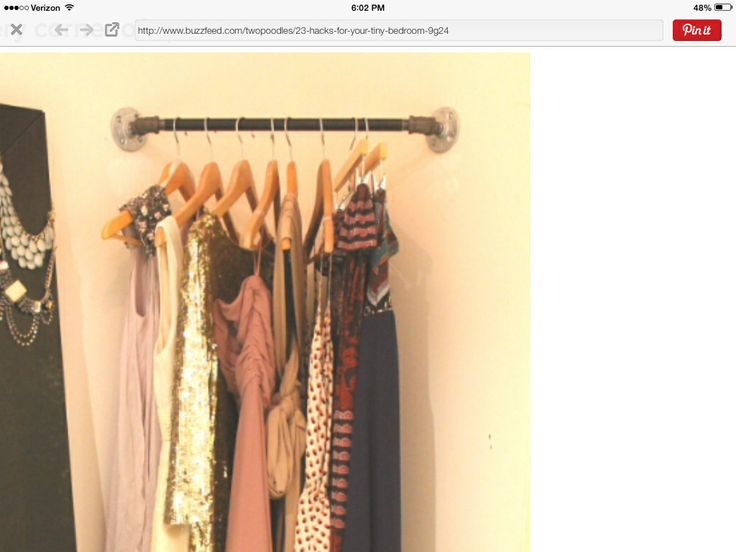 Use pipe fittings for closet rods or curtain rods