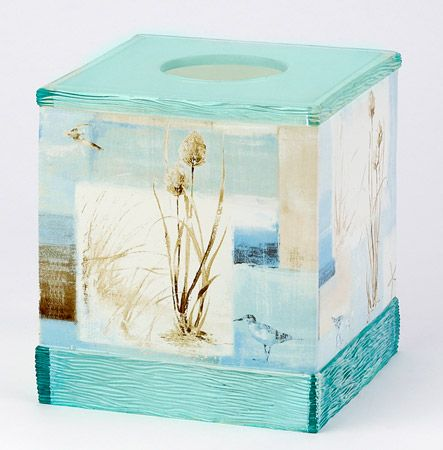 Blue waters tissue box cover pinterest - Beach themed tissue box cover ...