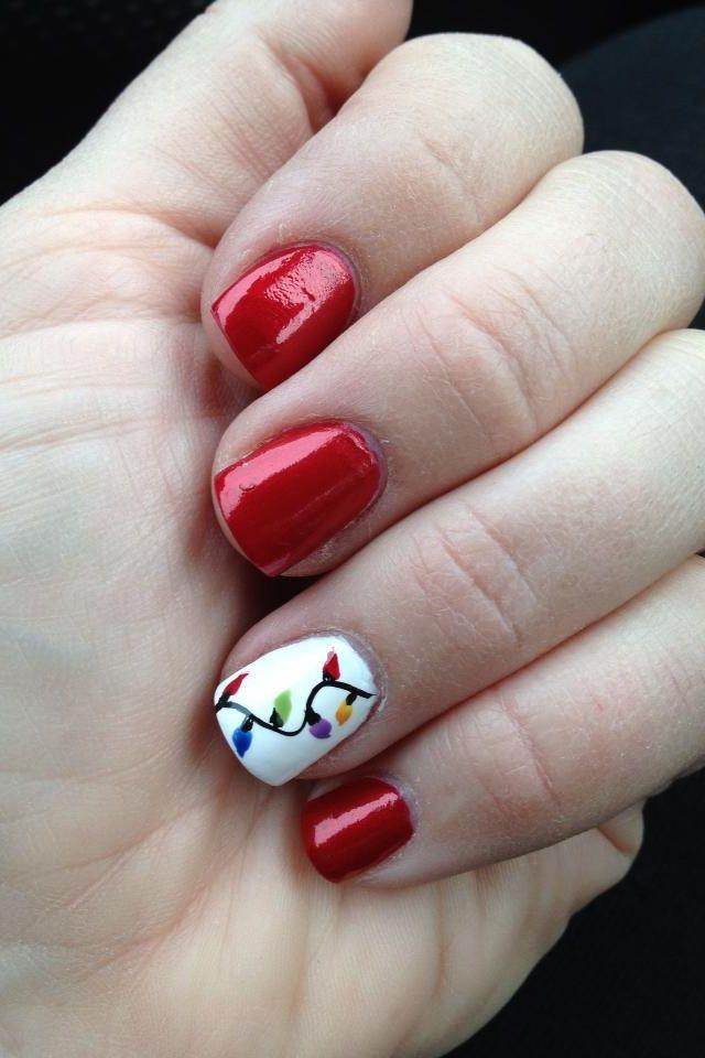 Christmas lights nails | Nails | Pinterest