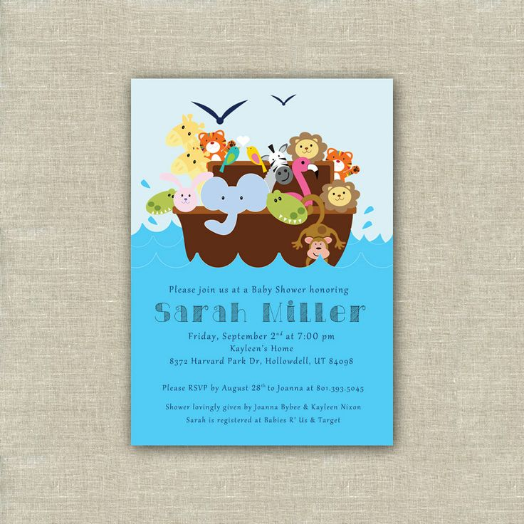 Noah39;s Ark Baby Shower Invitation Animals Digital by WhitePlumInk, $10