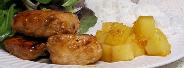 Hawaiian chicken with cilantro rice and honey pineapple