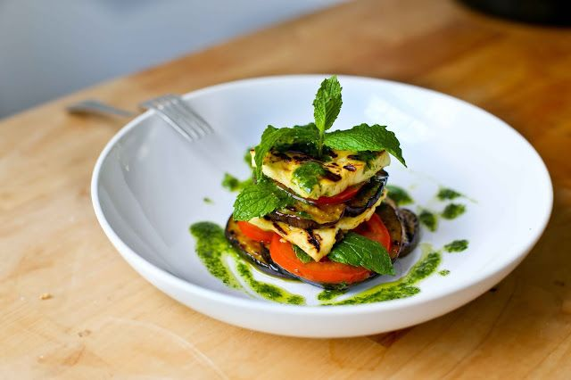 Grilled Halloumi, Tomato, Eggplant and Mint Pesto Salad