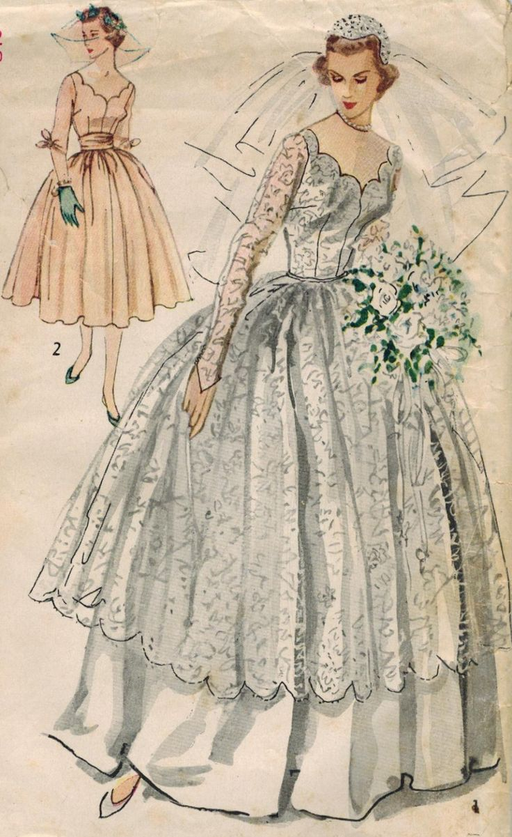 1950s simplicity 8425 vintage sewing pattern misses for Wedding dress patterns free