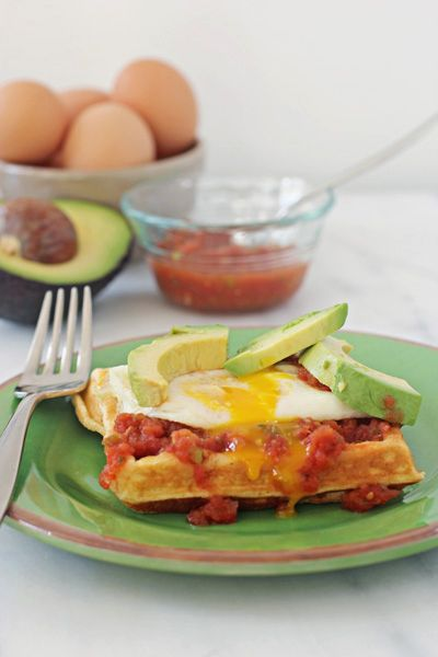 ... top with salsa an egg and sliced avocado huevo ranchero waffles