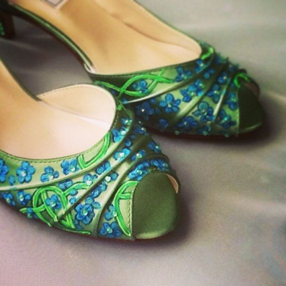 Wedding shoes Emerald green celtic blue custom by norakaren, $295.00