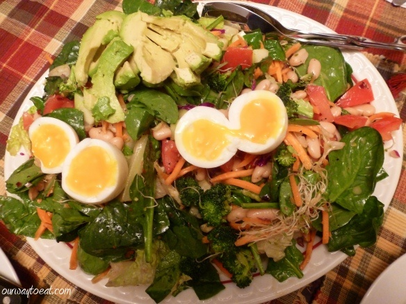 Bean, Broccoli, Spinach, Sprouts and Avocado with Soft Egg and Toasted ...