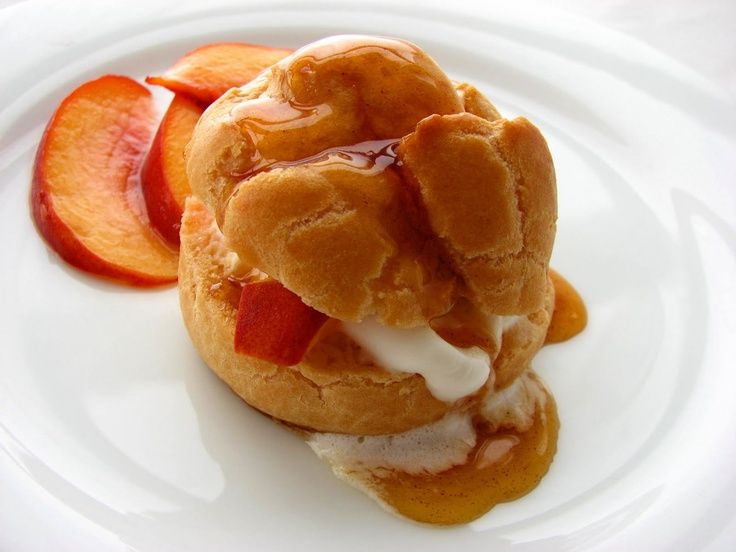 Peaches 'n Cream Puffs with cinnamon caramel syrup, from the beautiful ...