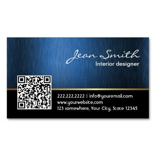 Royal blue qr code interior designer business card