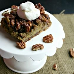Pumpkin pecan pie bars topped with homemade vanilla bourbon whipped ...