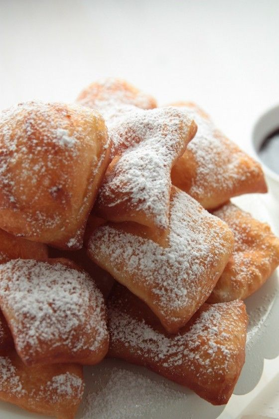 Homemade Beignets with Raspberry Sauce...hmmm I wonder if they'll ...