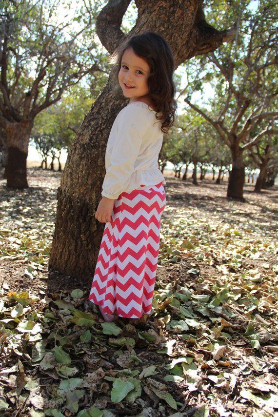 Toddler girl maxi skirt long skirt coral and white chevron maxi ski