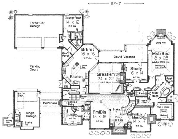 Single Curved Staircase Service Entry Mansion Plans