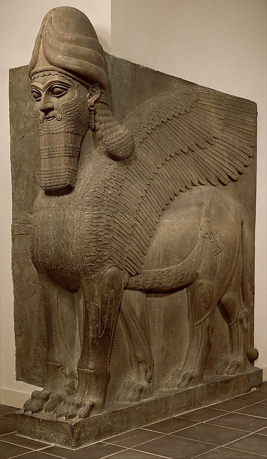 Human-headed winged bull and winged lion (lamassu), Neo-Assyrian   ca. 883–859 B.C.   Mesopotamia, Nimrud (ancient Kalhu)