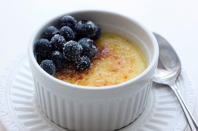 ... : Vanilla bean creme brulee topped with blueberries and vanilla sugar