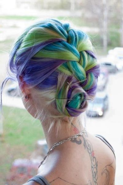 periwinkle, lime, teal & lavender hair