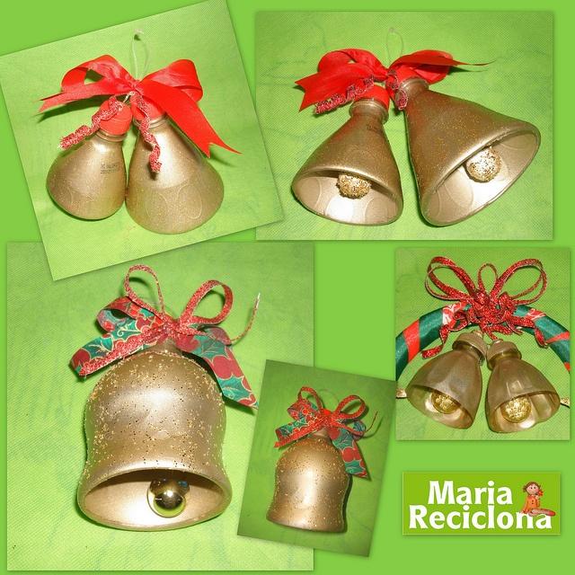 Sinos de Natal reciclado com garrafa Pet