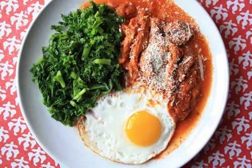 ... alla romana tomato sauce with wilted greens, pasta, and a fried egg