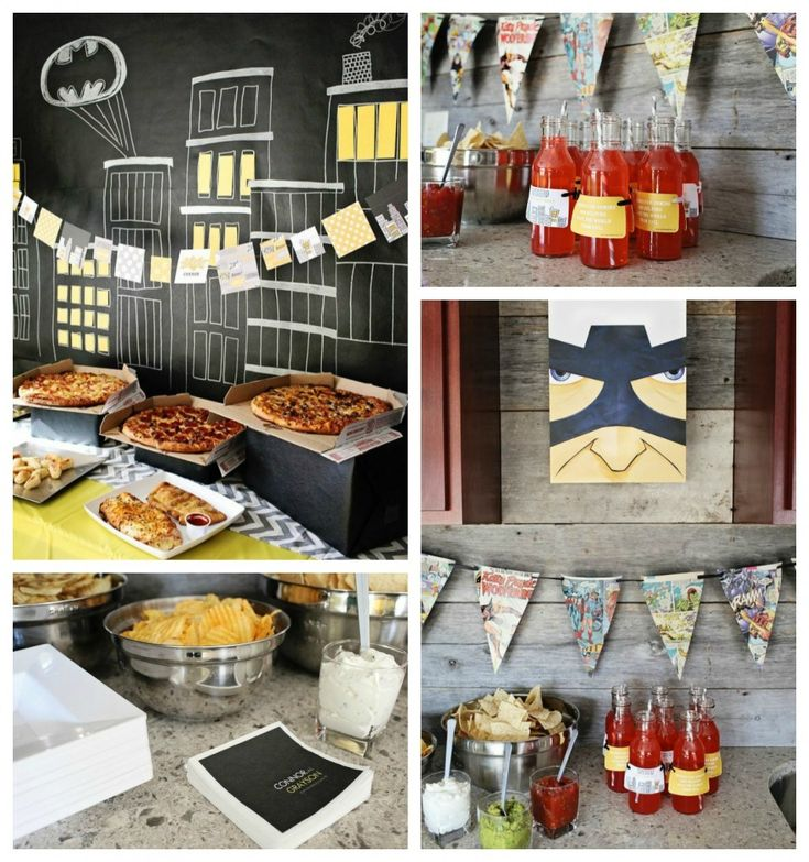 Kids Birthday Party Ideas: Searching for Superheroes! Superhero food is always needed at a superhero party. There is pizza, chips and dip and some super juice! Delish :)  #party #superhero