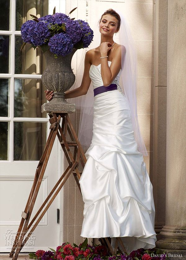 davids bridal wedding dress 2012 with purple sash
